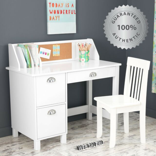 School Kids Desk and Chair Child Study Drawer Table Set Wood Art .