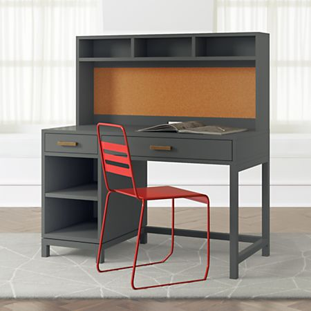 Kids Parke Charcoal Desk and Hutch | Crate and Barr