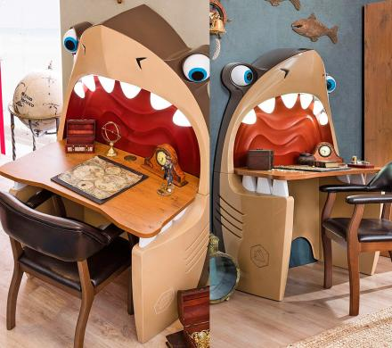 Pirate Shark Kids Desk With Light-up Teeth and Rolling Eye-Bal