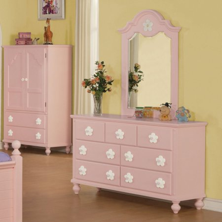 Acme Furniture Floresville Pink and White Flower Kids Dresser with .