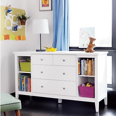 Kids' Dressers: Kids Modern White Poplar Dresser With Shelves in .