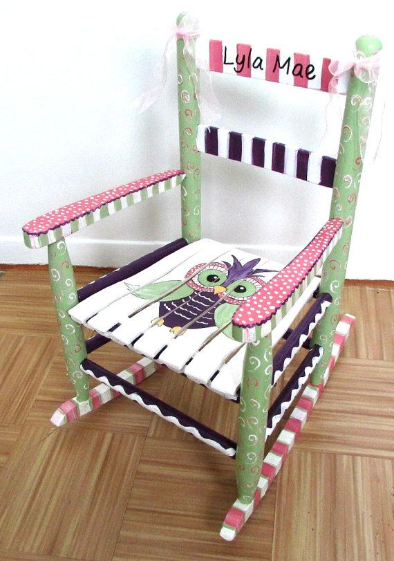 Hand Painted Child Rocking Chair, Custom Painted, Owl Rocking .