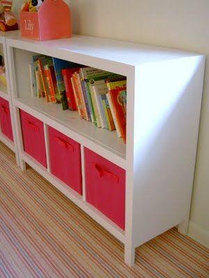 DIY Bookshelves with fabric storage bins | Storage decor bedroom .