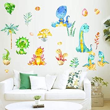 Amazon.com: Dinosaur Wall Decals Watercolor Dino Nursery Wall Art .