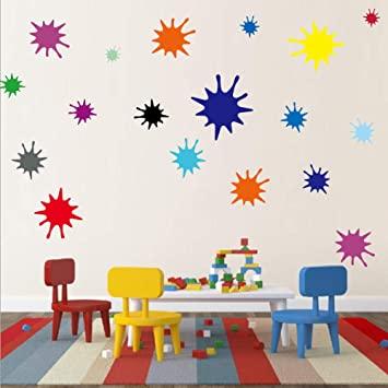 Amazon.com: Kids Wall Decals Primary Color Paint Splash Room Decor .