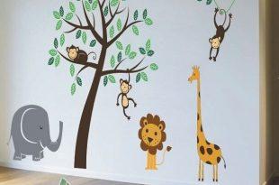 Nursery Wall Stickers Animal Friends Jungle Safari Tree Kids wall .