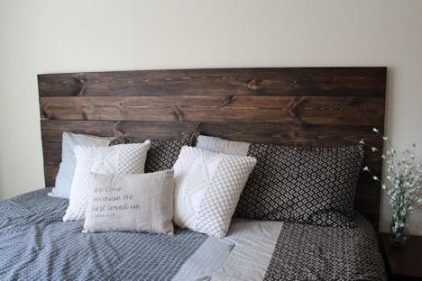 DIY How To Make Your Own Wood Headboard | Rustic wooden headboard .