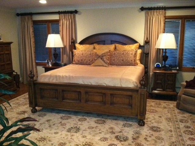 Classic Bedroom,Wooden King Headboard Ideas,Large Beige Floral .