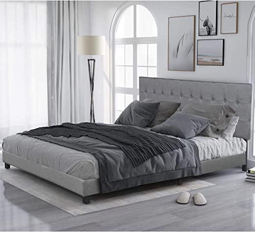 Amazon.com: King Bed Frame, Upholstered Platform Bed with .
