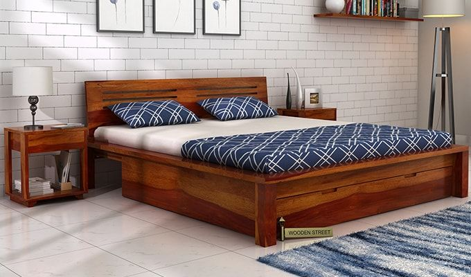 Buy Lynet Bed With Storage (King Size, Honey Finish) Online in .