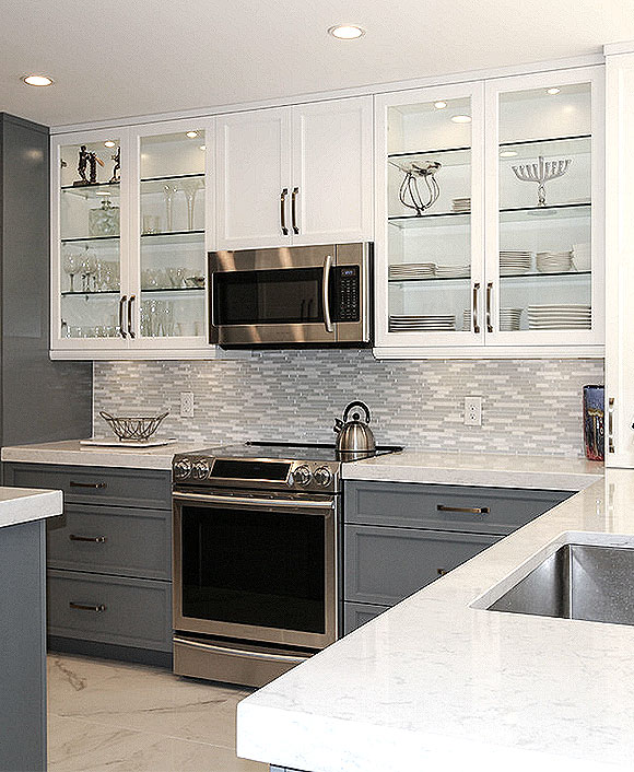 MODERN White Marble Glass Kitchen Backsplash Tile | Backsplash.c