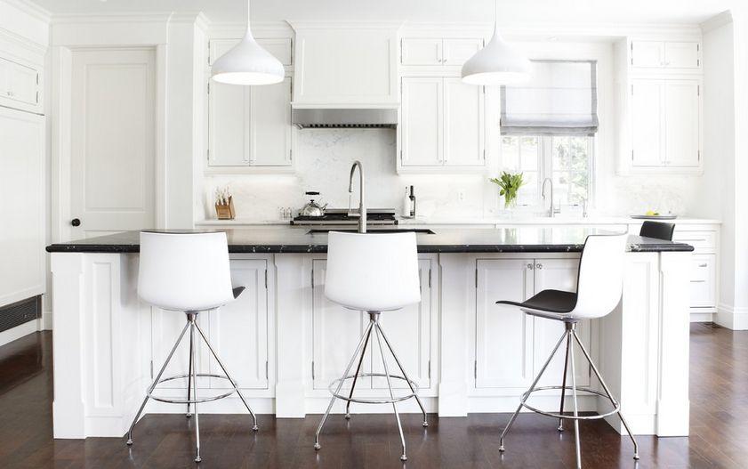 White bar stools featured in interior desig