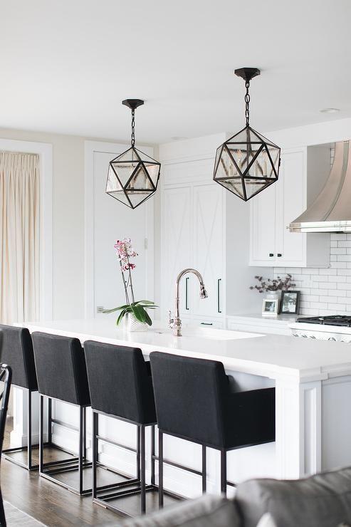 Black barstools | Black bar stools kitchen, White modern kitchen .