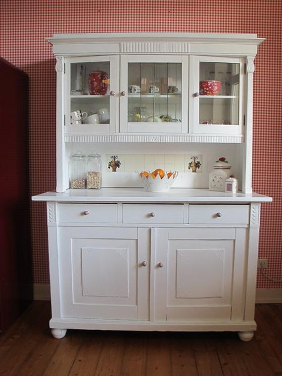 Art Nouveau kitchen buffet/buffet cupboard in white | Et