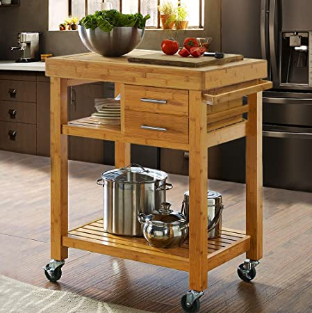 Amazon.com: Clevr Rolling Bamboo Wood Kitchen Island Cart Trolley .