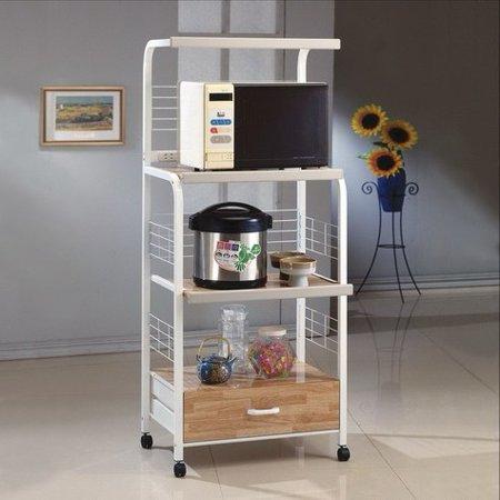 Microwave Kitchen Cart with Casters, White - Walmart.com - Walmart.c