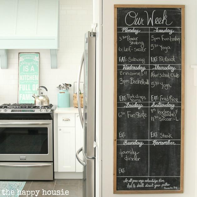 DIY Giant Chalkboard Kitchen Weekly Planner   The Happy Hous