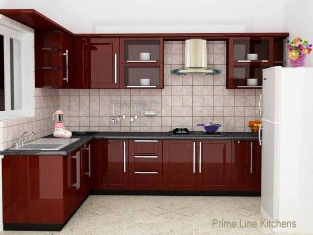 maroon, neat, simple, elegant | Modular kitchen cabinets, Simple .