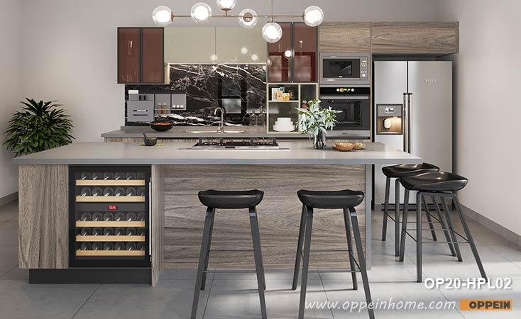 I-Shape Customized Laminate Kitchen Design OP20-HPL02- OPPEIN .