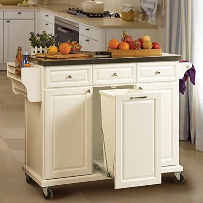 White Kitchen Cart With Trash Pull $279.99. Use for my folding .