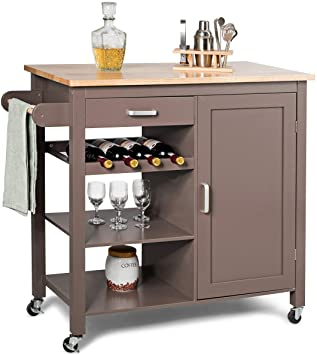 Amazon.com - Giantex Kitchen Cart, Kitchen Island Cart with Towel .