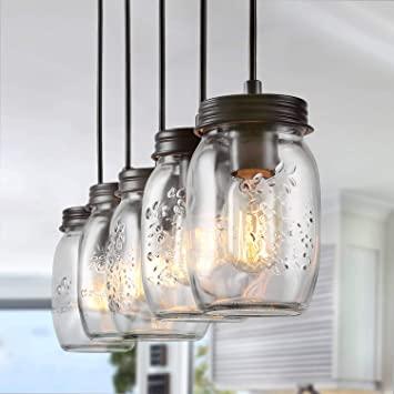 LNC Pendant Lighting for Kitchen Island, Wooden Farmhouse .