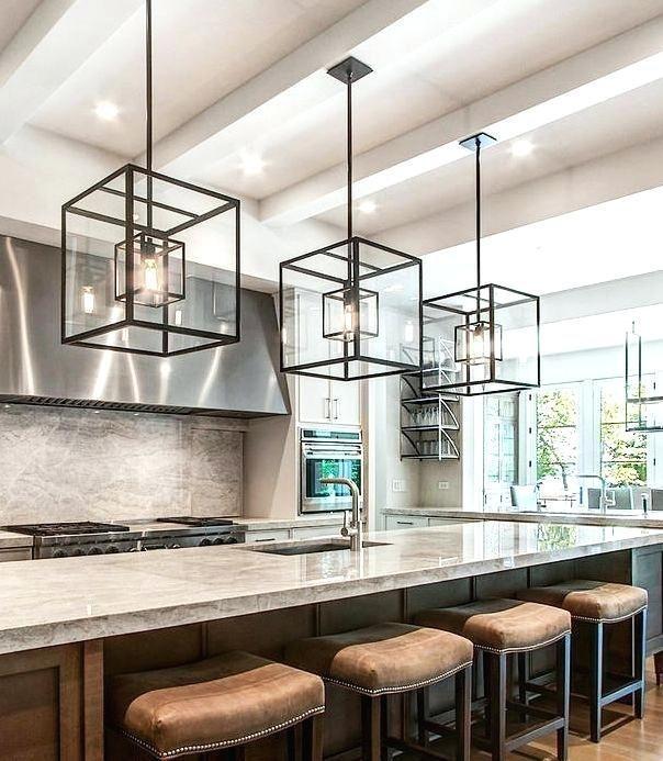 modern kitchen island pendant lights cube cage lighting complete .