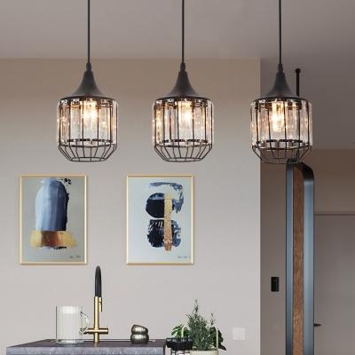 Kitchen Pendant Lights Black, 3 Lights Clear Crystal Pendant .