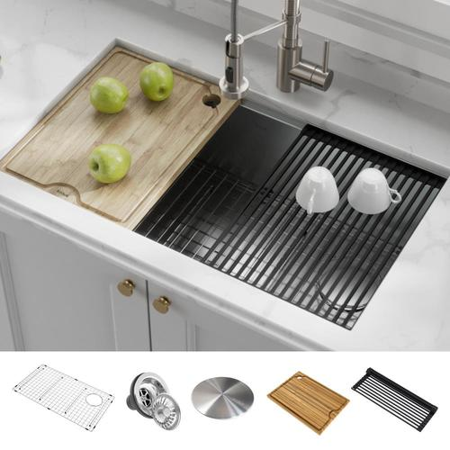 Kraus Kore 32-in x 19-in Stainless Steel Single Bowl Undermount .