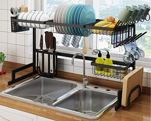 Amazon.com: Shinkoda Over the Sink Dish Drying Rack Small Kitchen .