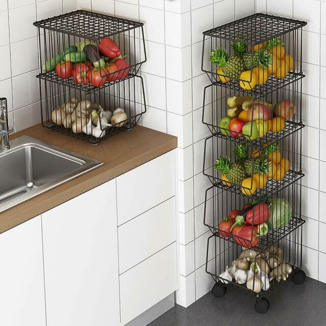 2 IKEA Steel Wire Basket Silver Hang Standing Kitchen Storage Rack .