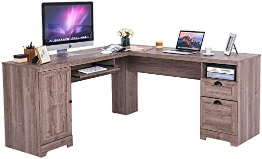 "Amazon.com: Tangkula 66"" × 66"" L-Shaped Desk, Corner Computer Desk ."