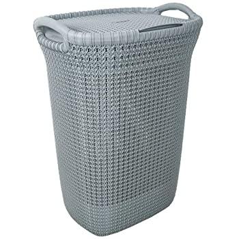 Amazon.com: Curver Knit Laundry Storage Hamper, Misty Blue, 57 .