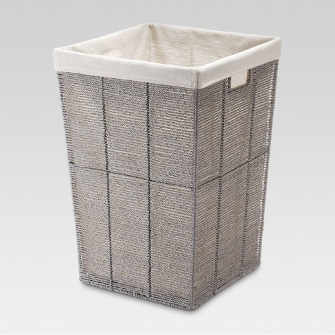 Square Twisted Paper Rope Laundry Hamper - Gray - Threshold™ : Targ