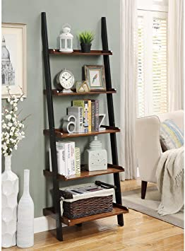 Amazon.com: MISC 6ft Brown Black Leaning Bookcase Ladder Shelf .