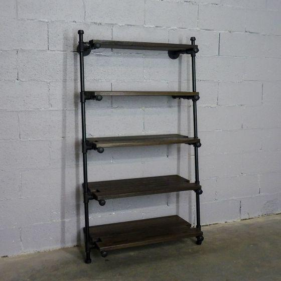Orlando Industrial Farmhouse 35-Inch Wide Leaning Bookcase .