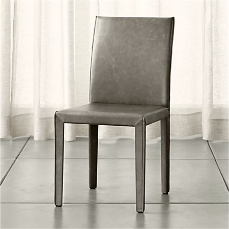 Folio Stone Grey Top-Grain Leather Dining Chair | Crate and Barr