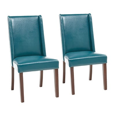 Oliver Teal Faux Leather Dining Chair Set of 2 | Pier