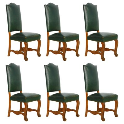 French Green Leather Dining Chairs, 1920s, Set of 6 for sale at Pamo