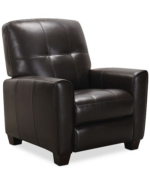 Furniture Kaleb Tufted Leather Recliner, Created for Macy's .
