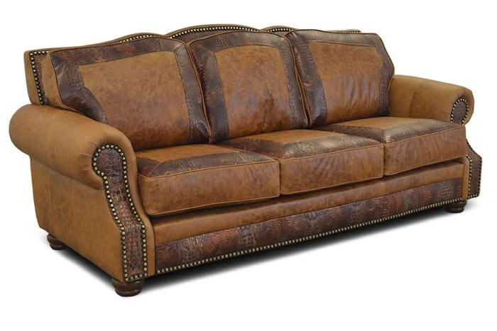 Almont Rustic Leather Sofa | Western Leather Sofas | Hat Creek .