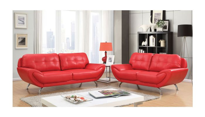 Angeline Modern Red Leather So