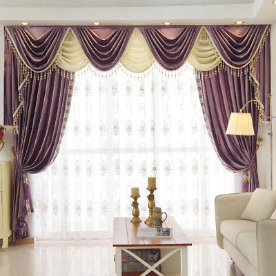 8 Feet purple Chenille Waterfall and Swag living room Curtain .
