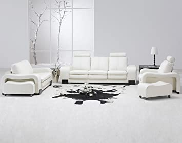 Amazon.com: Modern 5 Pcs White Leather Living Room Set: Kitchen .