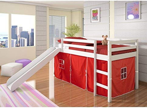 Amazon.com: DONCO KIDS Mission Low Slide Loft Bed White/Twin/RED .