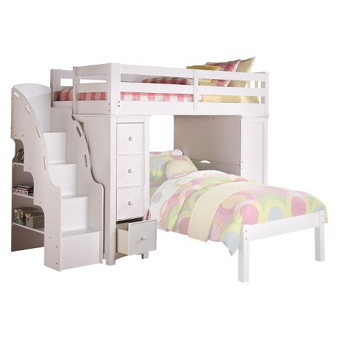 Twin Freya Kids Loft Bed With Bookcase White - Acme Furniture : Targ
