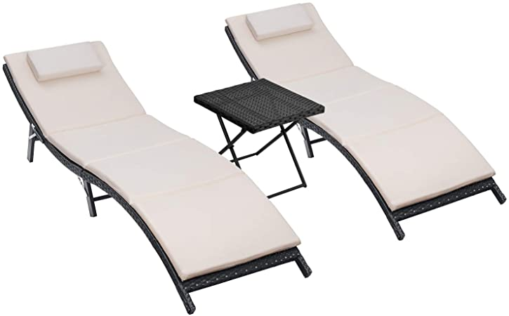 Amazon.com: Homall 3 Pieces Patio Chaise Lounge Chair Sets Outdoor .