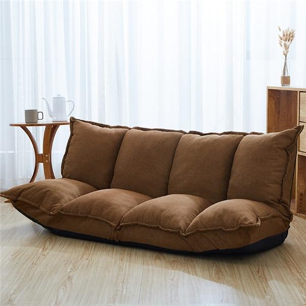 A Linen Fabric Upholstery Adjustable Floor Sofa Bed Lounge Sofa .