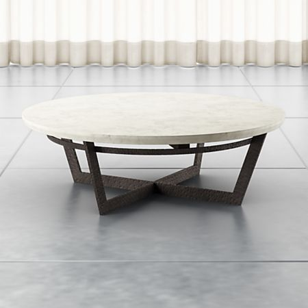 Verdad Round White Marble Coffee Table + Reviews | Crate and Barr