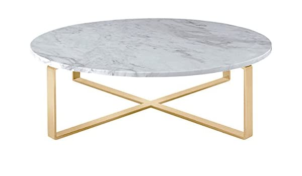 Amazon.com: Nuevo Living Rosa Round Marble Top Coffee Table with .
